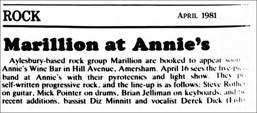 Ad: Annie's Wine Bar, Amersham - 16.04.1981