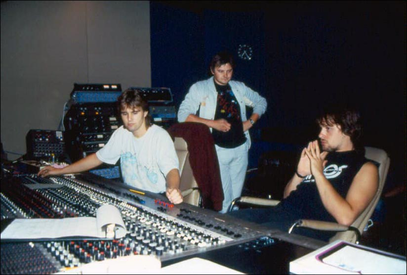 Marquee Studios, London - 1984: Simon Hanhart, John Arnison and Steve Rothery - Photo by Simon Hanhart