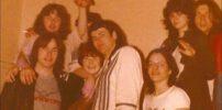 Marillion: Nite Club, Edinburgh - 15.04.1982 (fltr: Mark, Privet, unknown, Laura, Fish, Dave Walden, Julie (?), Mick) - Photo by Laura Gibbs Dick