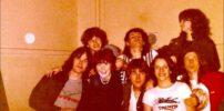 Marillion: Nite Club, Edinburgh - 15.04.1982 (fltr: Mark, Privet (bottom), Pete, Laura, Fish, unknown, Dave Walden, Julie (?), Mick) - Photo by Laura Gibbs Dick